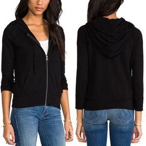 Standard James Perse Black Zipper Cotton Hoodie